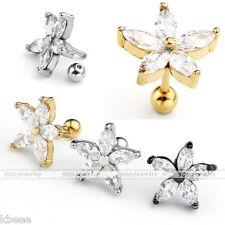 16G Steel CZ Gem Crystal Bar Flower Ear Cartilage Helix Stud Earring Piercing