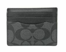 New Coach Signature Slim ID Card Case F58110 Charcoal / Black