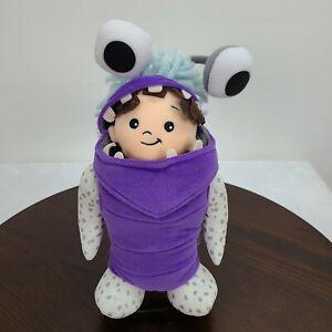 "Disney Store Monsters Inc Boo Soft Doll Plush 12""  Stuffed Toy Purple Costume"