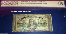 Dominion of Canada 1870 , 25 cents- Large B . CANADA EARLY PAPER MONEY!