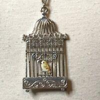Birdcage Pendant Necklace Enamel Bird Silvertone