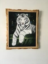"WHITE TIGER Hand Painted, VELVET PAINTING , 18"" BY 22"" W , FRAME , Home decor"