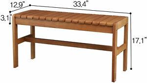 Classic Multifunctional Solid Hardwood Rubberwood Bench for Two (Oak)