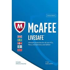 McAfee LiveSafe Ultimate Antivirus For PC Mac iOS Android 1 Year - 5 Users