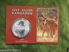 #C23.  1997  AUSTRALIAN KANGAROO 1 OZ SILVER CARDED SPECIMEN COIN