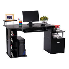 Wood Computer Desk Laptop Table Workstation W/ Storage Drawer Shelf Black
