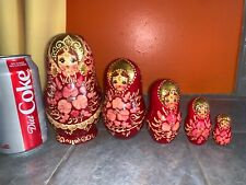 Cute Russian Nesting Dolls Set Reddish with Gold Paint