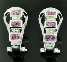 18k Solid white gold Natural Diamond & Pink Sapphire  Earring omega back
