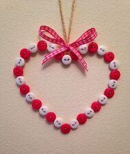 Shabby Chic Handmade Button Hanging Heart Candy Pink / White Gift Home Mum Xmas