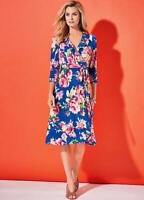 Slinky Cobalt Blue Wrap Front Floral Print Summer Dress Size 12 (no Belt)