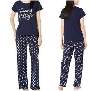 NWT $64 TOMMY HILFIGER Women Logo Pajama Set Top/Pants Navy/White SELECT SIZE