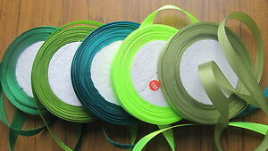 """12mm 1/2"""" width satin ribbon 25yd 20m roll shades of green *value* single sided"""