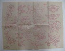 Vintage Artex 300-F Embroidery Transfer Pattern MUSHROOMS HUMMINGBIRDS FLOWERS