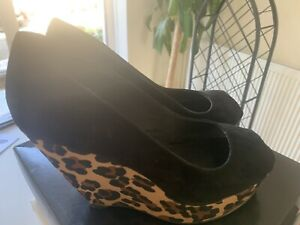 Black Leather Leopard Print Wedge By ASOS Size 39/6 Immaculate Only Worn Twice