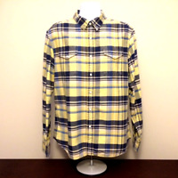 LEVI'S mens pearl snap button up shirt XL blue yellow plaid flannel western