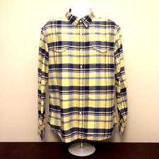 LEVI'S mens pearl snap button up shirt XL blue yellow plaid flannel western icon