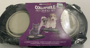 Raised Collapsible Silicone Double Bowl Pet Dog Feeder Food Water Stand