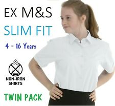 (TWIN PACK) Ex M&S Girls Slim Fit School Shirt Blouse White Short Sleeve 3-16Y