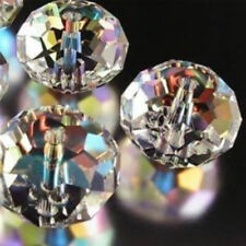 Faceted 100pcs 4*6mm Rondelle glass crystal Beads clear AB gb3436