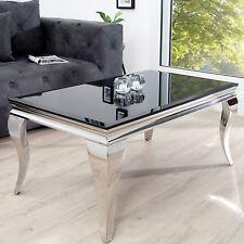 Couchtisch MODERN BAROCK silber 100cm Edelstahl Wohnzimmertisch Opalglas Tisch
