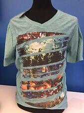NEW Men's Large Distortion V-Neck T Shirt City Fashion Blue Teal Festival NWT