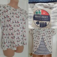 MANTARAY Ladies 100% Cotton White Quirky Floral Print Curtain Back Top Size 12