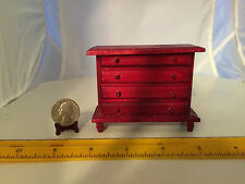 1/16 SCALE MINIATURE RED STAINED WOOD CHEST OF DRAWERS NO MOVING PARTS DOLLHOUSE