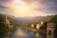 art on canvas,Italian, Lake Como, Italian Landscape, Architecture, Waterscape