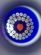 Vintage Caithness Scottish Glass Inkwell Paperweight Millefiori Canes Heart Dec