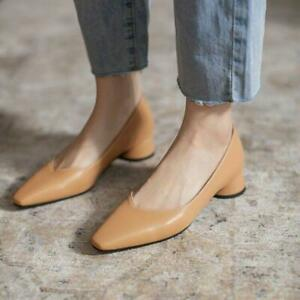 Womens Pumps Slip On Mid Heels Square Toe Work OL Casual Office Shoes Plus Sz