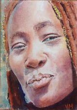 Aceo Fine Art Card Original Watercolor Portrait Painting / African woman