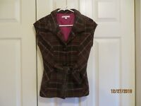 Cabi Womens Brown Plaid Three Button Tie Front Pockets Vest Size Extra Small