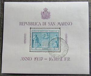 San Marino 1937 Independence Monument, block, #Bl1 used