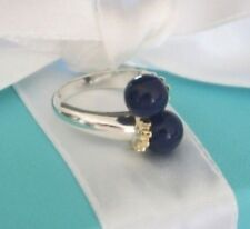 Tiffany & Co Blue Lapis Lazuli Silver Gold 750 Bypass Ring Est RRP $1100