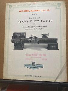 Vtg Rahn-Larmon Co Brochure B Series Lathes 1939 Nebel Trade Catalog