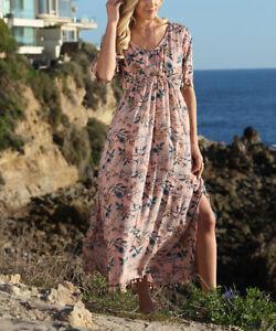 Pink Floral Side-Slit Short-Sleeve V-Neck Maxi Dress - Women's L (14)