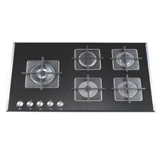 90cm Cooktop Gas Glass 5 Gas Burners Triple Flame Wok Flame Failure Device