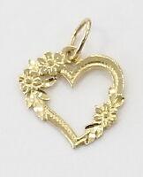 14k Yellow Gold Diamond Cut Heart Charm Necklace Pendant ~0.5g