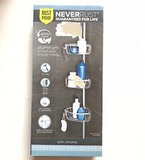 Zenna Home NeverRust Rustproof Aluminum Shower Caddy, Satin Chrome Tension
