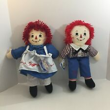 """2009 Raggedy Ann and & Andy Plush Doll Applause 17"""" Stuffed embroidered hearts"""