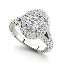 Pave Halo 2.35 Carat VS2/F Oval Cut Diamond Engagement Ring White Gold