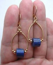 Lovely Bold Blue Lapis Lazuli Gold Hoop Earrings --- Leverbacks A0113