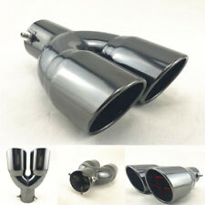 "Black Stainless Steel Dual 2.5""Outlet Angled Round Exhaust Muffler Tip Tail Pipe"