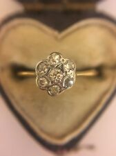 Antique Victorian 18ct 18k Yellow Gold Diamond Cluster Flower Ring Very Pretty