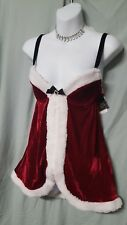 "SHORT SEXY SANTA BURGUNDY RED BABYDOLL NIGHTGOWN  LARGE GIFT 36"" BUST"