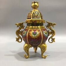 Chinese Antique Cloisonne carved double dragon hollow incense burner