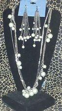SIMPLY VERA WANG NWT $62 women's long necklace & earrings set pewter gray