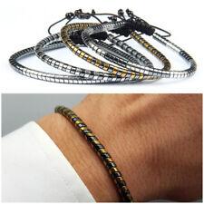 Bracciale uomo pietre dure con ematite in snake braccialetto regolabile nero