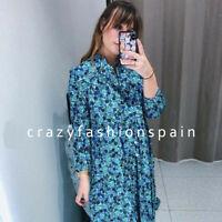 ZARA WOMAN NEW SS20 SEA GREEN FLORAL MAXI PRINT DRESS REF: 2294/130