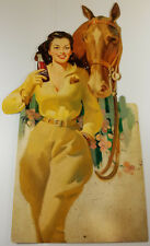 GRAPETTE SODA POP YOUNG WOMAN WITH HORSE HEAVY DUTY METAL GENERAL STORE ADV SIGN